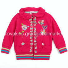 F2879#Salmon girls frenh terry coat with embroidery and zippper up